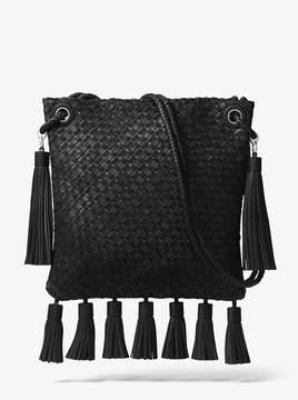 Michael Kors Hutton Woven Leather Tassel Crossbody - BLACK - STYLE