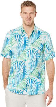 Cubavera Short Sleeve Allover Leaf Print Shirt