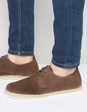 Zign Shoes Suede Lace Up Shoes With Espadrille Detail