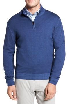 David Donahue Men's Ice Merino Wool Quarter Zip Pullover