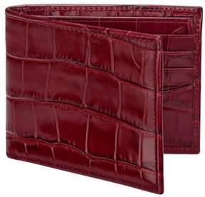 Aspinal of London | Billfold Wallet In Deep Shine Bordeaux Croc Navy Suede | Deep shine bordeaux croc navy suede
