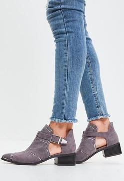 Missguided Grey Studded Cut Out Ankle Boots