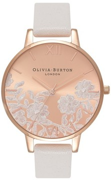Olivia Burton Women's Lace Detail Leather Strap Watch, 38Mm