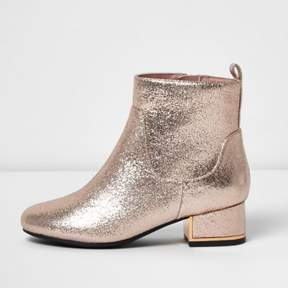 River Island Girls gold metallic block heel boots