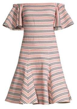 Caroline Constas Knit Off-Shoulder Fit-and-Flare Dress