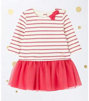 Petit Bateau BABY GIRL'S TULLE AND STRIPED JERSEY DRESS