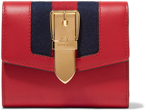 Gucci Sylvie Canvas-trimmed Leather Wallet - Red - RED - STYLE