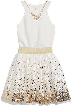 Beautees 2-Pc. Bodysuit & Sequin Skater Skirt Set, Big Girls (7-16)