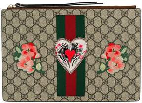 Gucci embroidered GG Supreme clutch bag - NUDE & NEUTRALS - STYLE