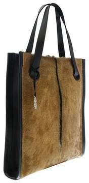 Roberto Cavalli Natural/black/silver Goat Hair Tote Bag
