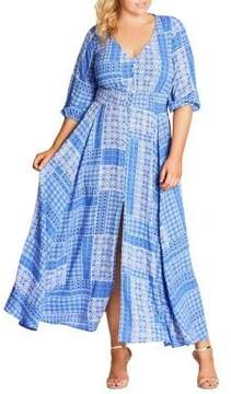 City Chic Plus Printed Shirred Maxi Dress