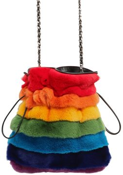 Trilly Rainbow Lapin Fur Shoulder Bag