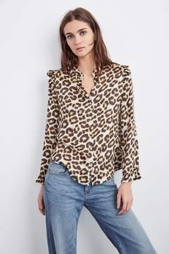 Velvet by Graham & Spencer YORK LEOPARD PRINT SATIN BUTTON UP
