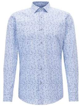 BOSS Hugo Patterned Cotton Dress Shirt, Slim Fit Ismo 18 Light Blue