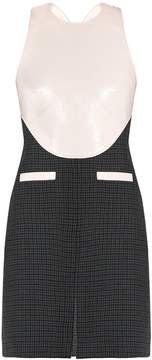 Courreges Faux-leather bodice and hound's-tooth wool dress