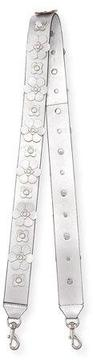 Rebecca Minkoff Floral Stud Guitar Bag Strap - SILVER METALLIC - STYLE