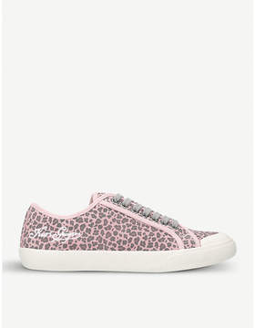 Kurt Geiger London Levy leopard-print suede low-top trainers