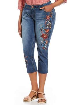 Democracy Plus Flex-ellent Girlfriend Floral Embroidered Crop Jeans