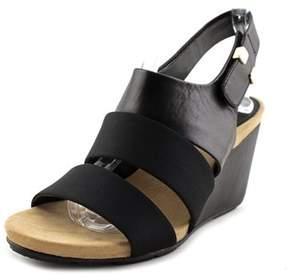 Alfani Elleana Women Open Toe Leather Black Wedge Heel.