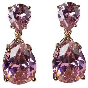 Kenneth Jay Lane CZ By Prong Set Pink CZ Double Pear Cut Drop Earrings