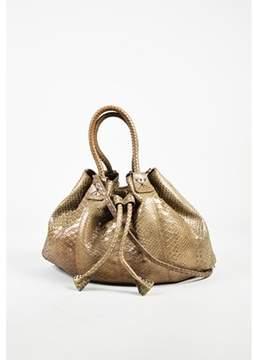 Carlos Falchi Pre-owned Gold Snakeskin Drawstring Tie Satchel Bag.