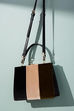 Anthropologie Colorblock Velvet Tote Bag