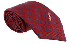 Missoni Four Petal Floral Red Woven 100% Silk Tie.