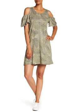 Democracy Cold Shoulder Palm Print Dress