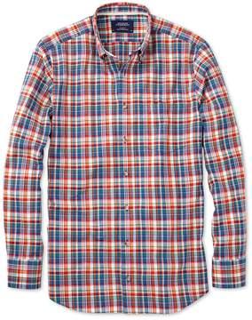 Charles Tyrwhitt Slim Fit Orange and Blue Check Cotton/linen Casual Shirt Single Cuff Size XS