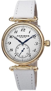 Akribos XXIV White Dial White Leather Ladies Watch