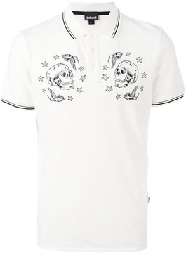 Just Cavalli skulls print polo shirt
