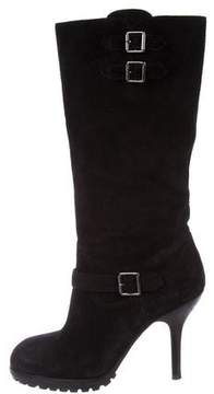 Ash Suede Round-Toe Mid-Calf Boots