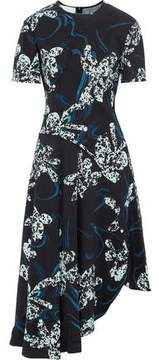 Cédric Charlier Asymmetric Printed Stretch-Jersey Dress