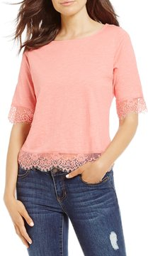 Copper Key Lace Trim Short Sleeve Tee