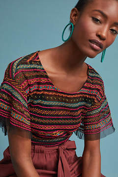 Anthropologie Naples Embroidered Mesh Blouse