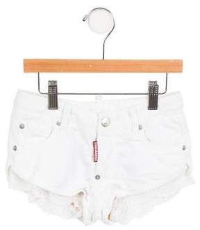DSQUARED2 Girls' Lace-Trimmed Mini Shorts