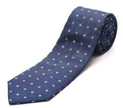 Luciano Barbera Men's Slim Silk Neck Tie Navy Yellow Orange.