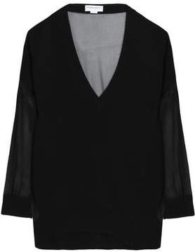 Amanda Wakeley Chiffon-Paneled Cashmere Sweater