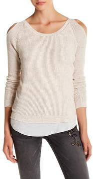 Democracy Cold Shoulder Waffle Knit Sweater