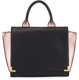 Neiman Marcus Winged Colorblock Fold-Over Satchel Bag