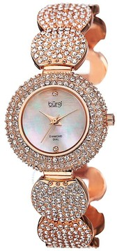 Burgi Mother of Pearl Diamond Dial Silver-tone Base Metal Ladies Watch
