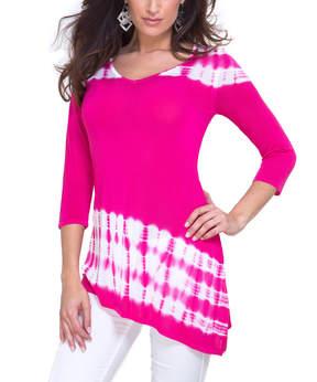 Belldini Fuchsia Tie-Dye Asymmetrical-Hem Top - Women