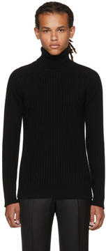 Brioni Black Ribbed Cashmere Turtleneck