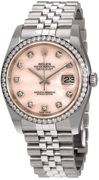 Rolex Datejust 36 Pink Mother Of Pearl Diamond Dial Automatic Ladies Jubilee Watch