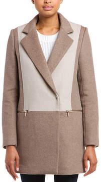 Dawn Levy 2 Lila Sahara & Sand Colorblock Wool Coat