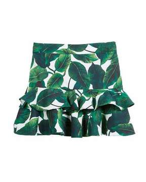 Milly Minis Banana Leaf Ruffle Tiered Mini Skirt, Size 8-14