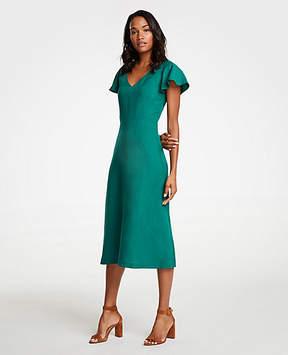Ann Taylor Flutter Sleeve Linen Blend Midi Dress
