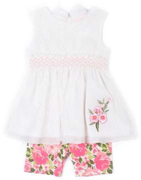 Little Lass Toddler Girls' Sleeveless Open-Back Chiffon Tunic & Floral Bike Shorts, 2Pc Outfit Set