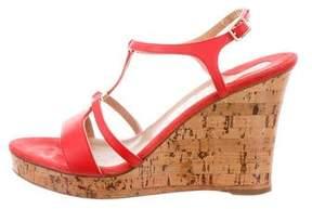 Salvatore Ferragamo Leather Ankle Strap Wedges