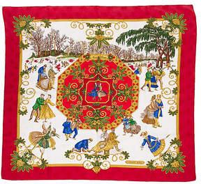 One Kings Lane Vintage HermAs Joies d'Hiver Red Silk Scarf - Vintage Lux
